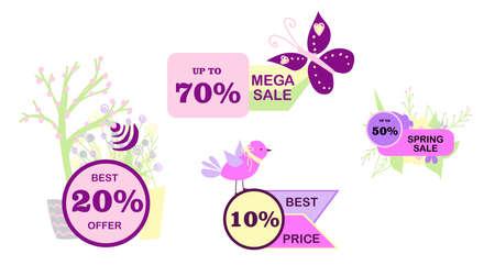 Spring discounts. Big sale. Mega skidaki. Super stock .. interest. Sell-out Set of stickers for trade Illustration