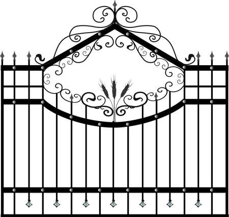 Forged fence. Street garden fence. Artistic forging. Metal fence..