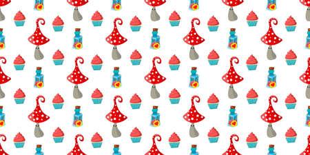 seamless childish pattern. Amanita mushrooms. Cupcakes and cakes. Alice in Wonderland.