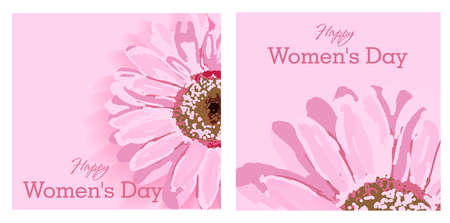 Set of greeting cards. Womens day text design with flowers and pink background. Vector illustration. Womens day greeting design. Template for poster, card, banner. March 8. Illustration