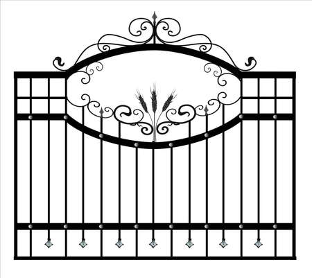 Gates forged sketch. Artistic forging. Iron door design. Vector illustration isolated on white background. Exterior. Garden gate.