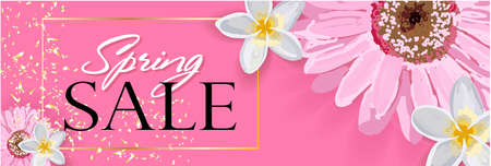 Spring sale background with a beautiful colorful flower. Illustration