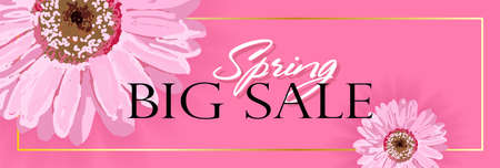 Spring banner with realistic flowers on a pink background. Vector illustration. The banner is ideal for promotions, magazines, advertising, websites. Illustration