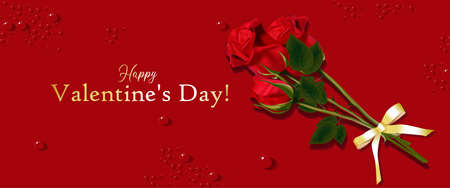 Red rose on the card. Horizontal banner for Valentines Day. Promo flyer. Place for text. The 14th of February. Vector illustration. Realistic rose. Bud. Colors for a bouquet. Design Element. Stock Photo