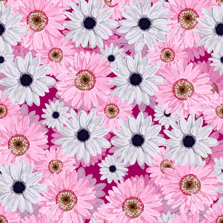 SEAMLESS VECTOR FLOWER PATTERN. Realistic flowers. Spring bright colors. Stock Photo