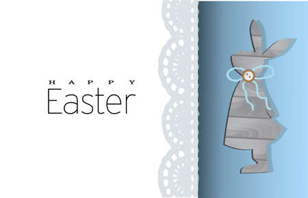 Happy Easter. Greeting card with rabbit. Wooden bunny. Easter poster, postcard, flyer. Lace and blue color. Cute vector illustration. Stock Photo
