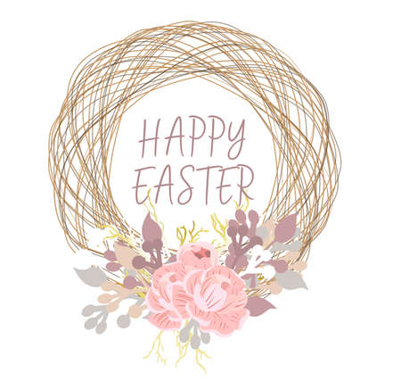 Spring card with place for text. Happy easter Easter background. A wreath of branches. Birdhouse. Golden bows and first flowers .Vector illustration isolated on white background. Stock Photo