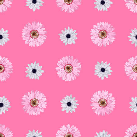 SEAMLESS VECTOR FLOWER PATTERN. Realistic flowers. Spring bright colors. Pink. Perfect textile and wrapping paper design. Gerbera, anemone, linen.
