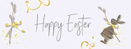 Easter background on a wooden board. Bunny from the tree FIGURINE. grey colour. NATURAL COLORS. The basis for the text. Easter is a holiday of spring. Advertising banner for postcards or promotions.