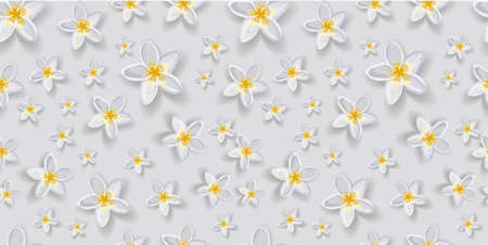 Gentle trendy seamless vector pattern with flowers. White flowers. Petunia. Gray background. Elegant pattern for textiles and interior fabric design. Stock Photo