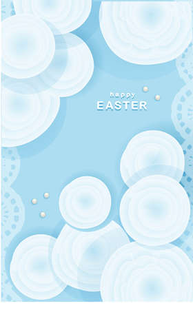 Tender easter background. Greeting card or banner. Have a good weekend. Spring holidays. Happy easter. The flowers are blue Stock Photo