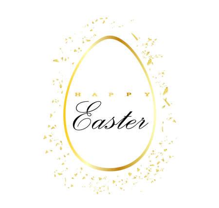REALISTIC EASTERN EGG ON A WHITE BACKGROUND ISOLATED. vector illustration easter element. GOLDEN EGG.