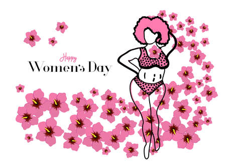 Greeting card International Womens Day. Girl in a pink bikini. Hibiscus flowers. Spring motives. Happy Womens Day. Vector illustration.