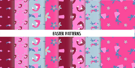 EASTER SEAMLESS PATTERNS. set of abstract vector paper with decorative flowers, shapes and symbols of easter day