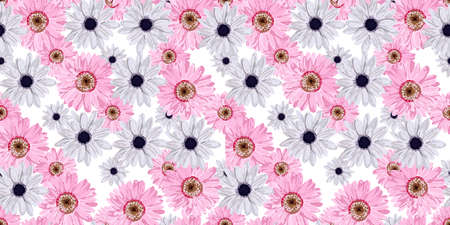 SEAMLESS VECTOR FLOWER PATTERN. Real flowers. Spring bright colors. Hi spring. Pink. Perfect textile and wrapping paper design. Gerbera, anemone, linen.