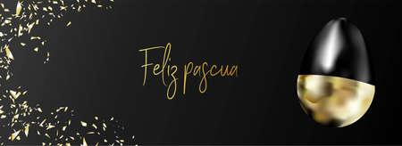 Horizontal banner, advertising poster and header for easter website. Black elegant background. Golden egg and confetti. Translation from Spanish HAPPY EASTER. Stock Photo