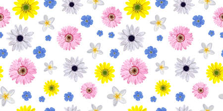 SEAMLESS VECTOR FLOWER PATTERN. Realistic flowers. Spring bright colors. Perfect design for textile and wrapping paper.