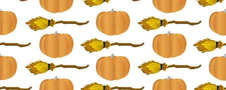 Shameless vector pattern for teenage textiles. Ideal for the design of notebooks, wrapping paper, fabric. Pumpkins and broom for flying. Illustration