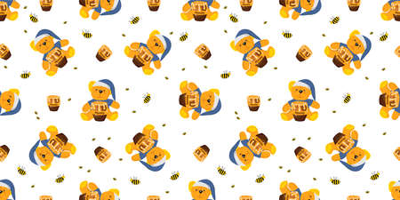 Seamless pattern. Teddy bear. Cute baby design textile and clothes. Printing on fabric. Wallpaper in the nursery.