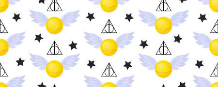 Golden snitch seamless pattern. deathly hallows. The world of magic. Magical items.