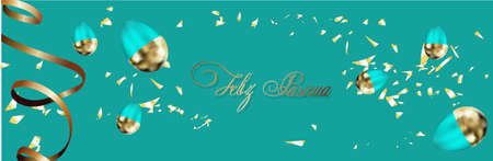 Easter background with place for text. Banner or poster for Easter. Blue. Golden eggs. Spring Break. Promotions and sales. Website header.. Illustration