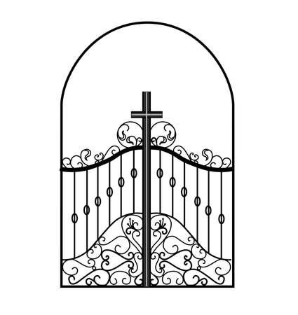 Gates forged sketch. Artistic forging. Iron door design. Vector illustration isolated on white background. Exterior. Garden gate.. Illustration