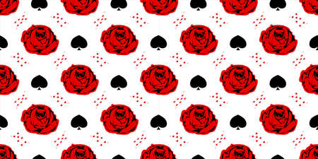 Red Rose. Playing cards. Wonderland. Seamless pattern. Children's fairy tales Alice Vectores