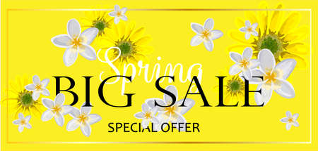 BIG SALE. Banner for advertising discounts and promotions. Spring discounts. Bright design. Flowers on a yellow background. Illustration