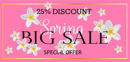 BIG SALE. Banner for advertising discounts and promotions. Spring discounts. Bright design. Flowers on a pink background.