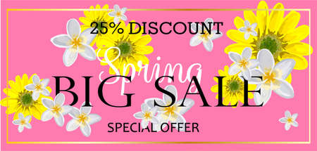 Spring is a big sale. Advertising horizontal banner. Advertising billboard. Bright design with flowers and confetti.