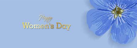 Horizontal holiday banner for Womens Day. International Womens Day. Blue elegant flyer. Greeting card. Purple field flower. Illustration