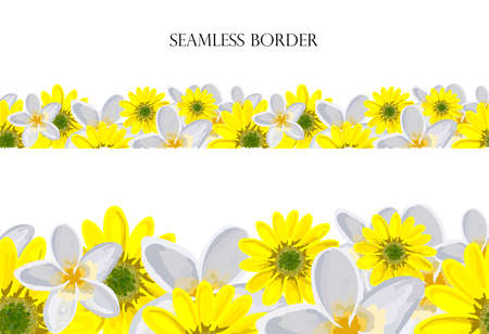 Flower meadow seamless vector border. repeating pattern. Use for greeting cards, surface decoration, ribbons, fabric decoration, Easter, footer.