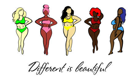 Women with different skin colors. Afroamer Ikan, European, Asian, Scandinavian. Body positive concept. Any body is beautiful. Motivational inscription. Women in swimsuits isolated on a white backgroun