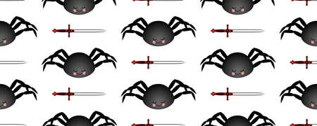 Black spider pattern. Mch on a dark background. Seamless pattern for textile and fabric design.
