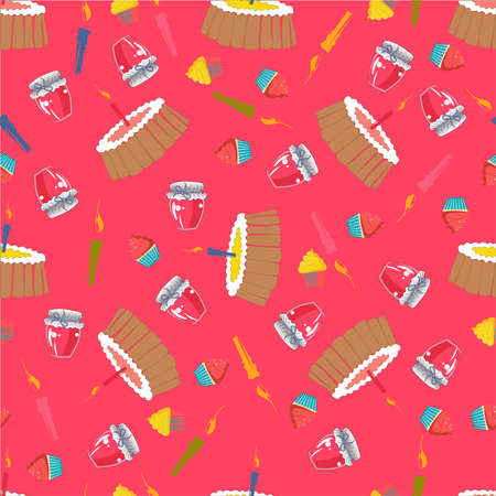 Birthday seamless pattern with cake, candles and cupcakes, pastries. Perfect design for fabric and textile, wrapping paper and wallpaper for walls. Vector pattern.