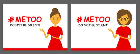 The hashtag is me too. Say no to violence against women. Harassment. Humiliation. Banner. Social movement. Feminism.