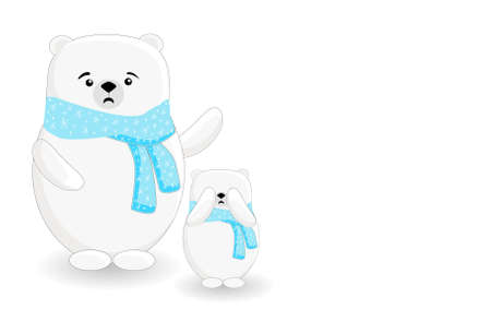 Northern bears. Animal parents. Cartoon characters isolated on a white background. Zdjęcie Seryjne