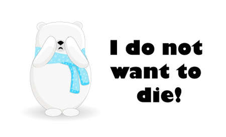 Polar bear cartoon character. The animal is suffering. Catastrophe. Global warming. Greenland is melting.
