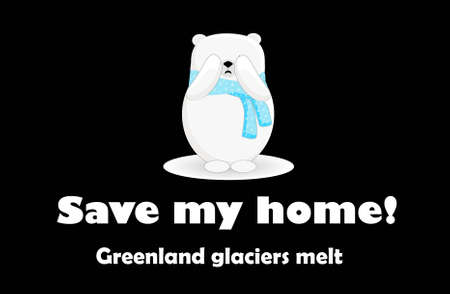 Polar bear cartoon character. Global warming. Greenland island. Stock Photo
