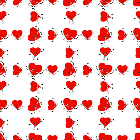 Valentines day pattern. Red hearts on a white background illustration. Heart cute character. Cartoon style. Love and friendship. Textile and wrapping paper design.