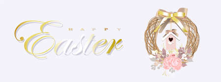 Easter banner. horizontal poster, postcard, background with text Happy Easter. Spring wreath on a gray background. elegant. Gold ribbons and confetti. Design with realistic objects. Christian religion