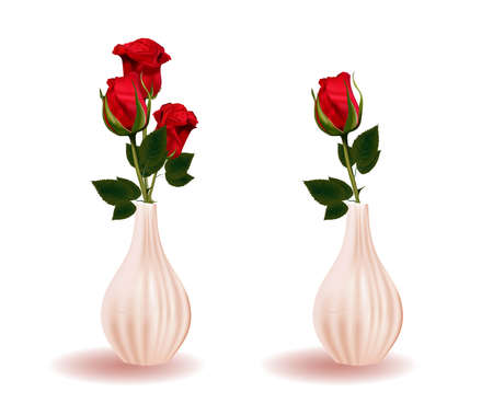 Red rose in a vase. Branch flower. Modern ceramic vase. Element Isolated On A White Background. Stock Photo