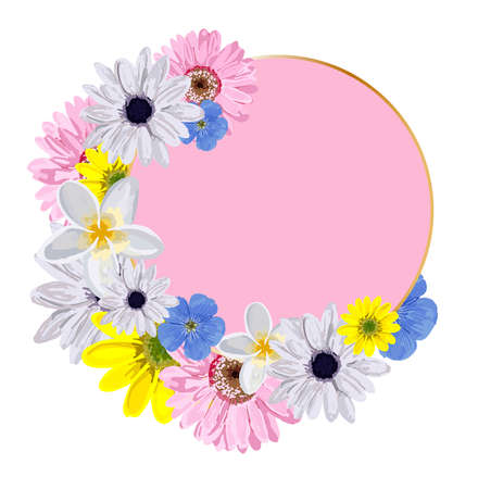 Vector round background for lettering. Pink pattern with flowers. Design for advertising or promotions, sales. Spring flowers are bright blue and white. Vector illustration isolated on a white backgro