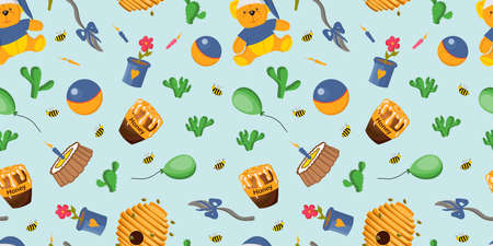 Cheerful cute balls pattern. flowers. the bees. Children's drawing.Vector illustration.