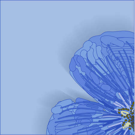 Spring background. Flower on a blue background. Template for greeting card or promotion.