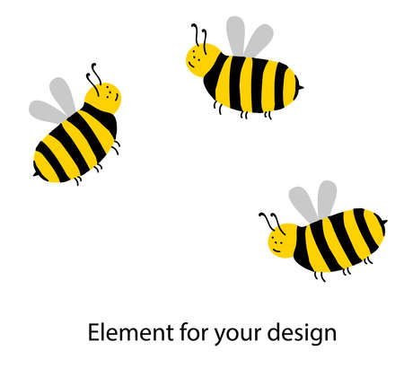 Cute bee characters on a white background. Striped insects. Wings. Yellow and black. Vector illustration isolated on white background. Element for your design.