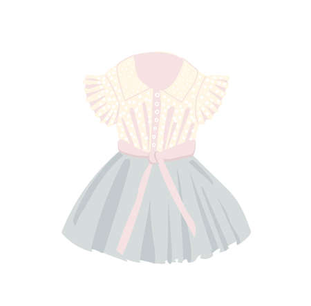Childrens dress is beautiful. Tulle and lace. Dress up party wear for girls. Princess costume. Peach and pink colors. Vector illustration isolated on a white background.