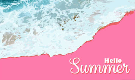 Summer sale banner background mockup. Vector illustration template. Horizontal banner. Hello summer. Pink sand. Beach top view. Sea waves and foam.