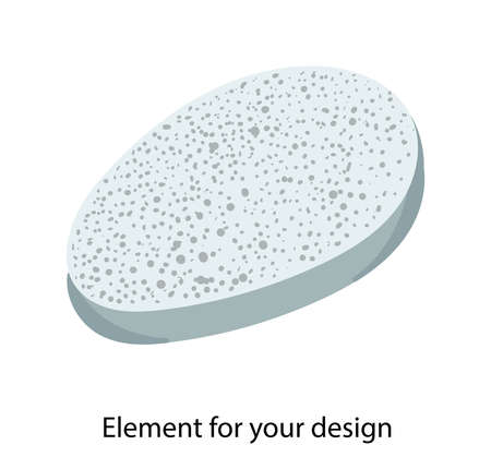 Stone for washing. Natural bath accessories. Pumice for the feet. Foot cleaning. Pedicure. vector illustration on a white background. Element for your design. Stock Illustratie