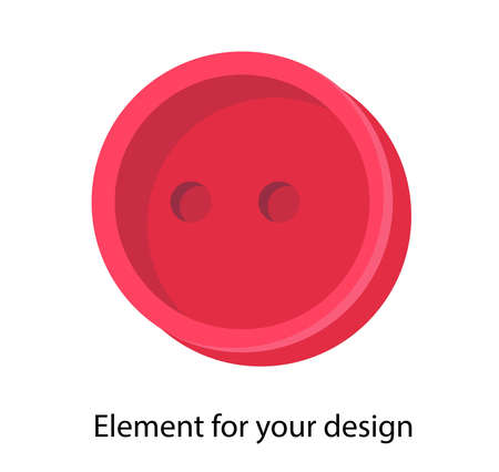 Button on a white background. Vector isolated element. Red. Accessory for sewing. Иллюстрация